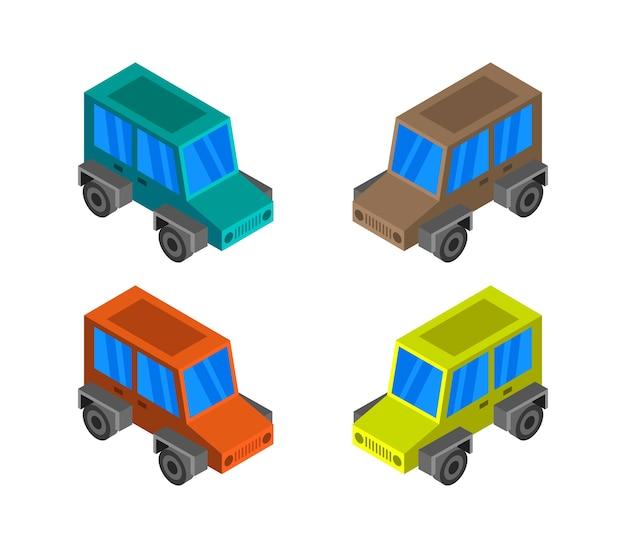 Conjunto de jeep isométrico
