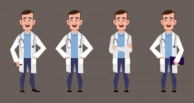 Conjunto de joven médico personajes de dibujos animados pose de personal médico