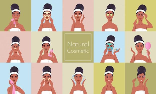 Conjunto joven mujer aplicar mascarilla vestida con toalla chica afroamericana limpieza y cuidado de su cara cuidado de la piel spa maquillaje tratamiento facial cosmético natural concepto retrato horizontal