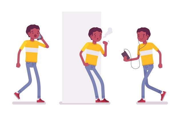 Conjunto de joven negro o afroamericano fumando, caminando