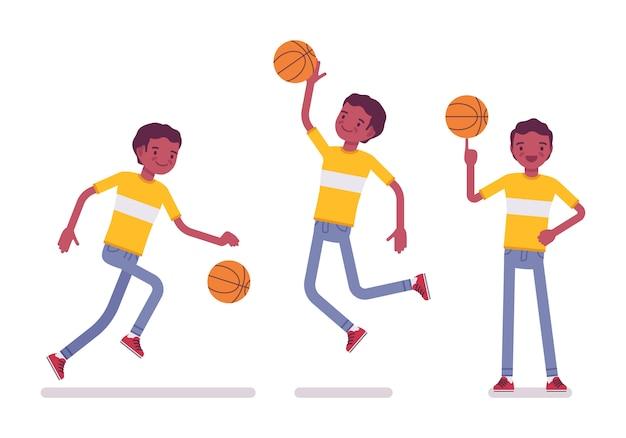 Conjunto de joven negro o afroamericano jugando baloncesto
