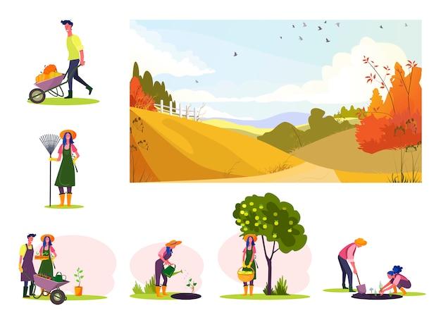 Conjunto de joven pareja trabajando en el huerto