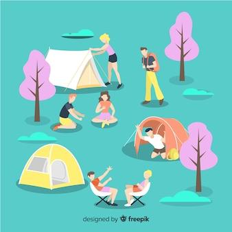 Conjunto de jóvenes acampando.