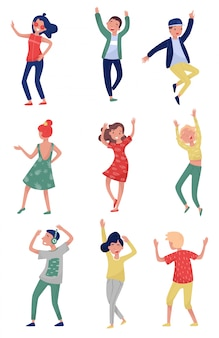 Conjunto de jóvenes en acción de baile. estudiantes divirtiéndose en la fiesta. chicas y chicos con ropa elegante. estilo de vida activo