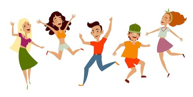 Conjunto de jóvenes bailando y divirtiéndose