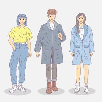 Conjunto de jóvenes coreanos de moda.