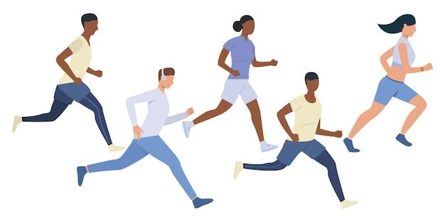 Conjunto de jóvenes corredores multiétnicos.