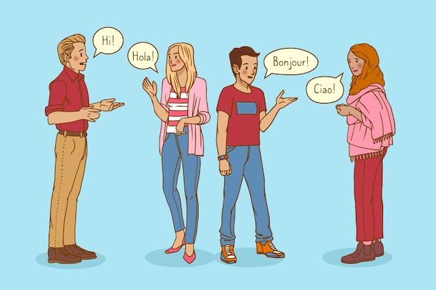 Conjunto de jóvenes dibujados a mano hablando en diferentes idiomas