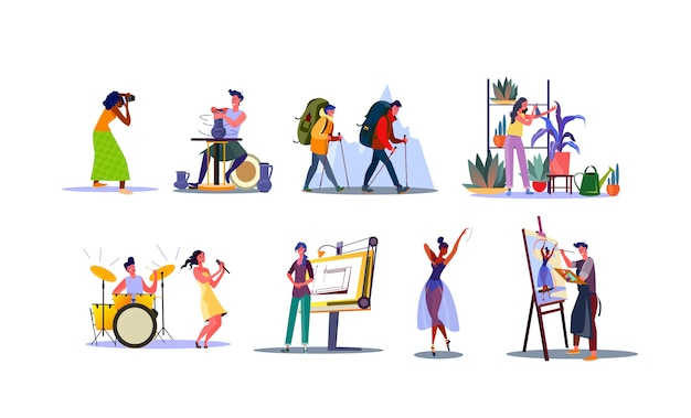 Conjunto de jóvenes con diversas profesiones.