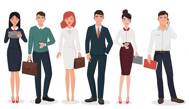 Conjunto de jóvenes empresarios de oficina