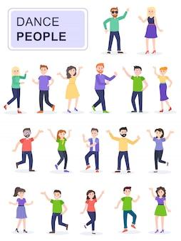 Conjunto de jóvenes felices personas bailando.