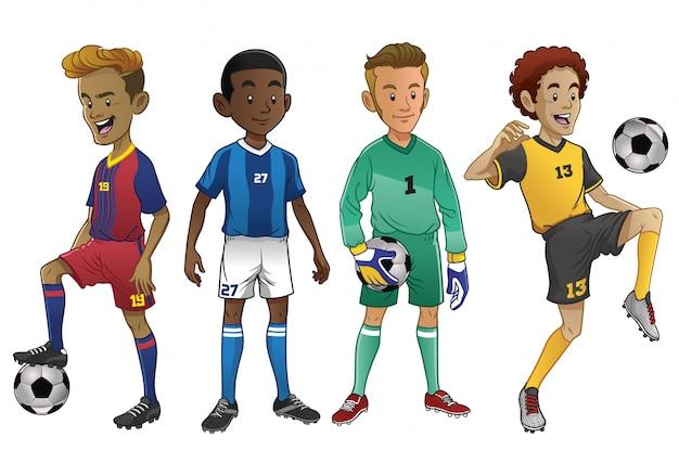 Conjunto de jóvenes futbolistas