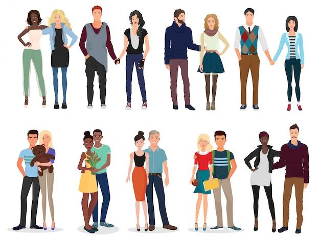 Conjunto de jóvenes hermosas personas parejas colección.