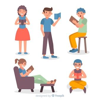 Conjunto de jóvenes leyendo libros