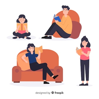 Conjunto de jóvenes leyendo