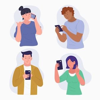 Conjunto de jóvenes que usan teléfonos inteligentes.