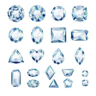 Conjunto de joyas blancas realistas. piedras preciosas de colores. diamantes sobre fondo blanco.