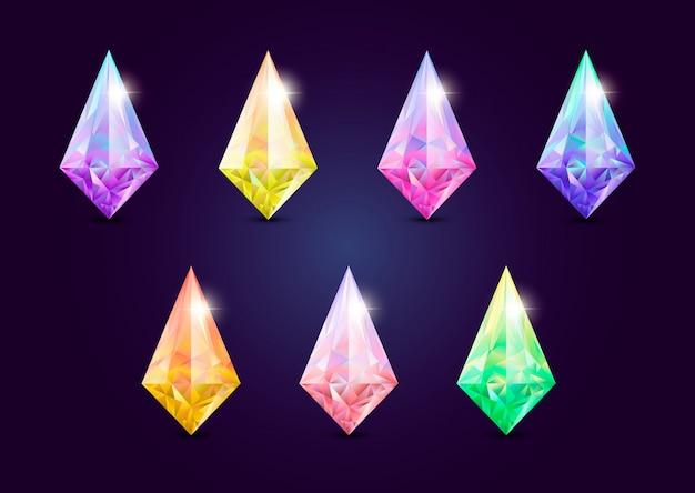 Conjunto de joyas gemas, piedra para juego.