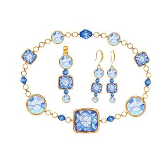 Conjunto de joyas de pendientes, colgante y pulsera.