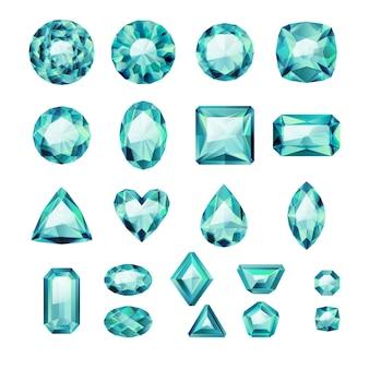 Conjunto de joyas verdes realistas. piedras preciosas de colores. esmeraldas sobre fondo blanco.