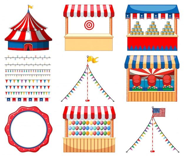 Conjunto de juegos de circo y otras decoraciones.