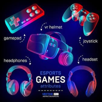 Conjunto de juegos de cybersport: casco de realidad virtual abstracto con gafas, auriculares, gamepad, joystick.