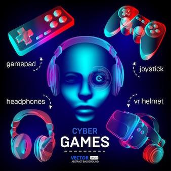 Conjunto de juegos de cybersport: casco de realidad virtual con gafas, auriculares, gamepad, joystick y cara de robot.