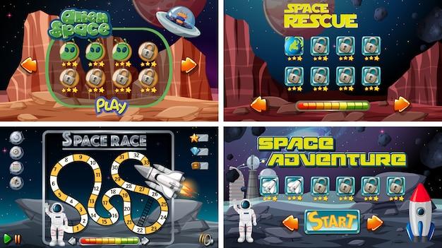 Conjunto de juegos espaciales.