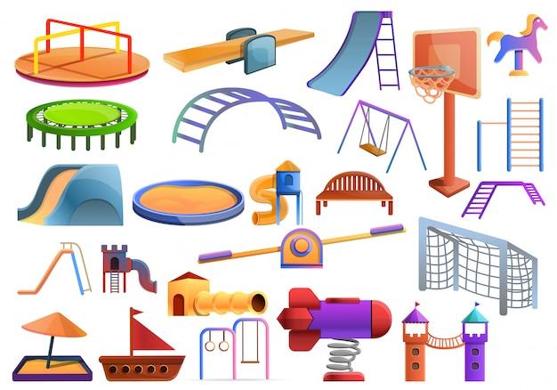Conjunto de juegos infantiles, estilo de dibujos animados