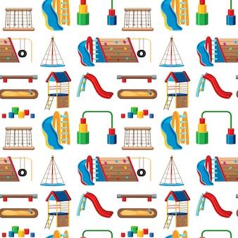Conjunto de juegos infantiles en el parque sin costuras