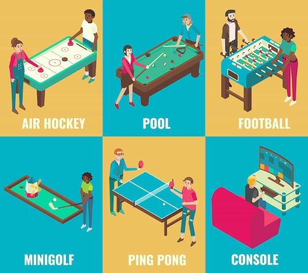 Conjunto de juegos isométricos air hockey, billar, fútbol, minigolf, ping pong y elementos de consola.