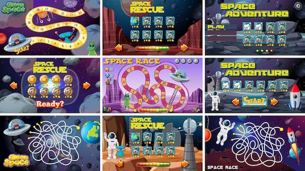 Conjunto de juegos de mesa temáticos espaciales.