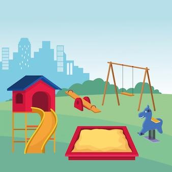 Conjunto de juegos de parque infantil.