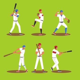 Conjunto de jugador de béisbol. colección de jugador profesional