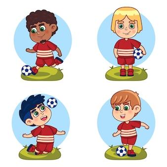 Conjunto de jugador de fútbol de dibujos animados