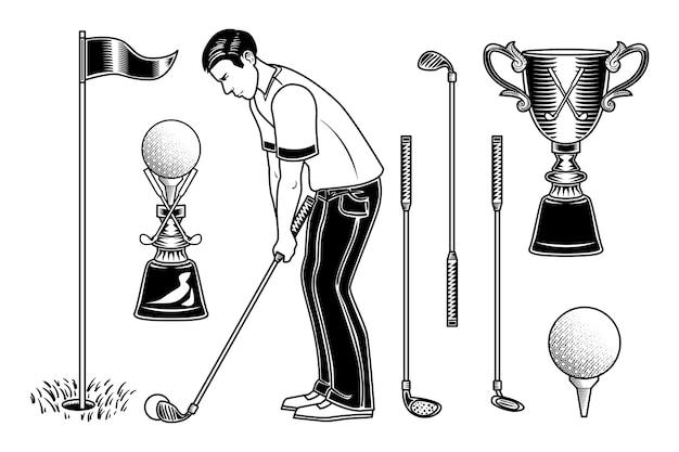 Conjunto de jugador de golf y equipamiento.
