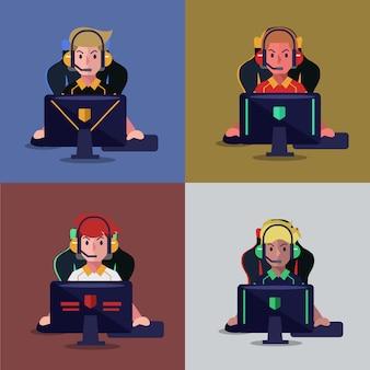Conjunto de jugador profesional jugando videojuegos en computadora