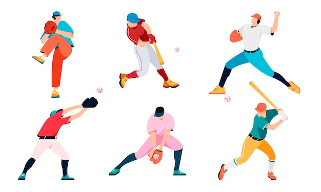 Conjunto de jugadores de béisbol aislado sobre fondo blanco.