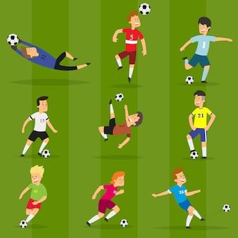Conjunto de jugadores de fútbol coloridos en diferentes posiciones jugando fútbol en un campo verde