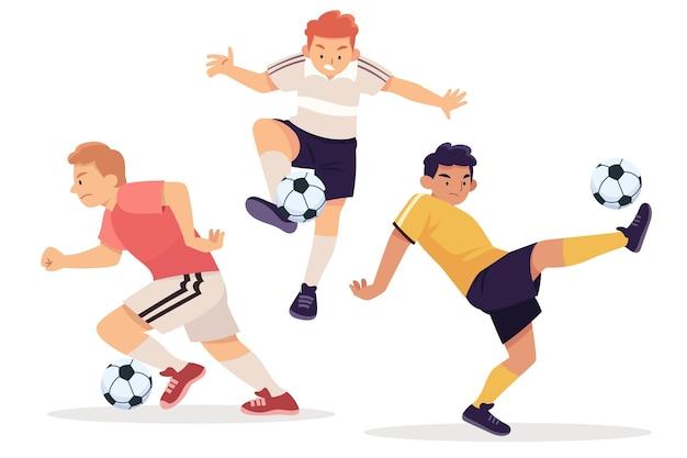 Conjunto de jugadores de fútbol de diseño plano