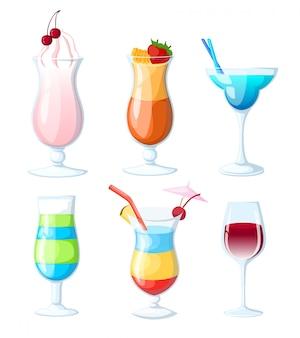 Conjunto de jugos y cócteles tropicales. ilustración dibujada a mano. varias copas de cóctel con bebidas. página del sitio web y elemento de aplicación móvil.