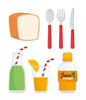Conjunto de jugos con pan y utensilios.