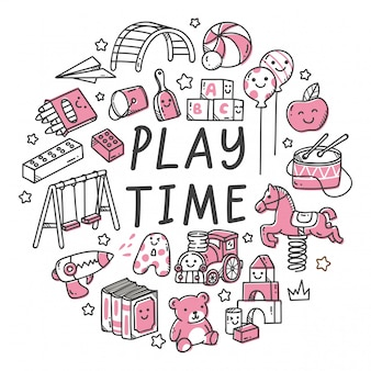 Conjunto de juguete para niños en kawaii doodle estilo ilustración