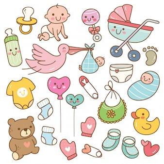 Conjunto de juguetes y accesorios de bebé estilo kawaii.