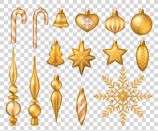 Conjunto de juguetes de árbol de navidad aislado