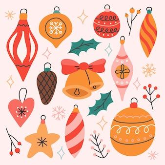 Conjunto de juguetes para árboles de navidad, ilustración vectorial de estilo plano, decoración para postales, carteles.