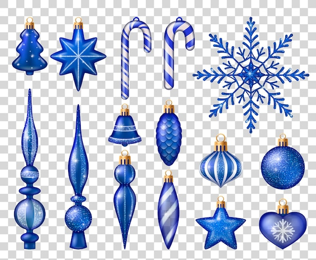 Conjunto de juguetes azules y blancos para la decoración del árbol de navidad aislado