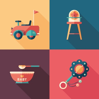 Conjunto de juguetes para bebés de iconos cuadrados isométricos con largas sombras.