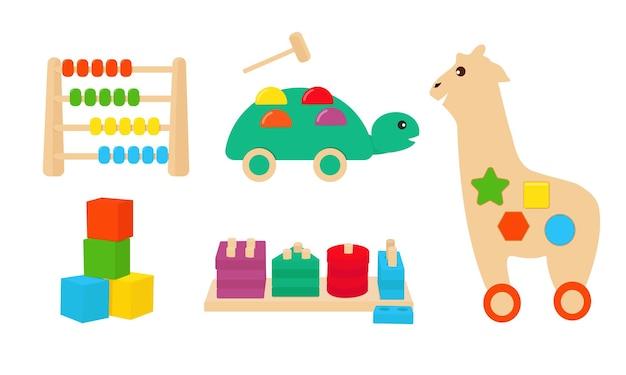 Un conjunto de juguetes educativos de madera. el sistema montessori. vector