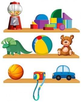 Conjunto de juguetes en la estantería.